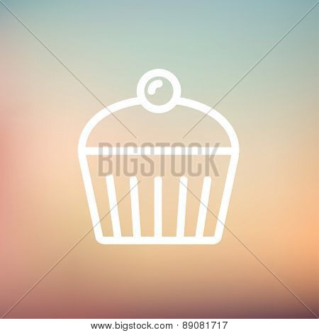 Cupcake with raspberry icon thin line for web and mobile, modern minimalistic flat design. Vector white icon on gradient mesh background.