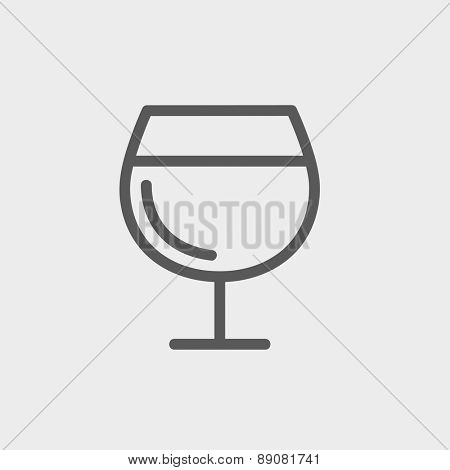 Glass of wine icon thin line for web and mobile, modern minimalistic flat design. Vector dark grey icon on light grey background.