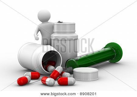Man With Bottle For Tablets. Isolated 3D Image