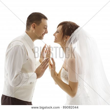 Bride And Groom Portrait, Wedding Couple Looking Each Other Face