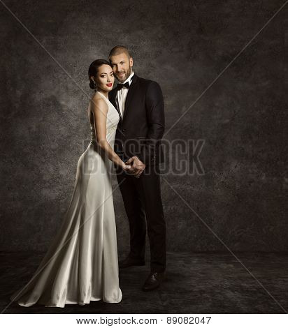 Wedding Couple, Bride And Groom Fashion Portrait, Elegant Suit, Long Silk Dress