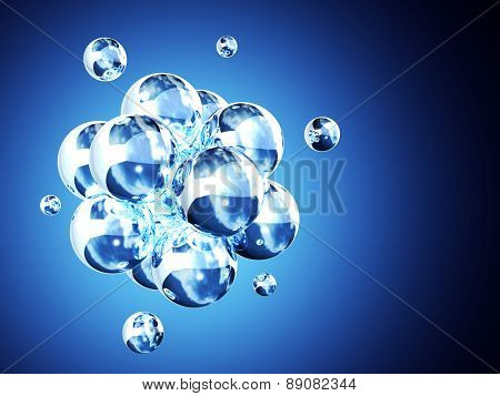 Abstract molecular structure. On blue background