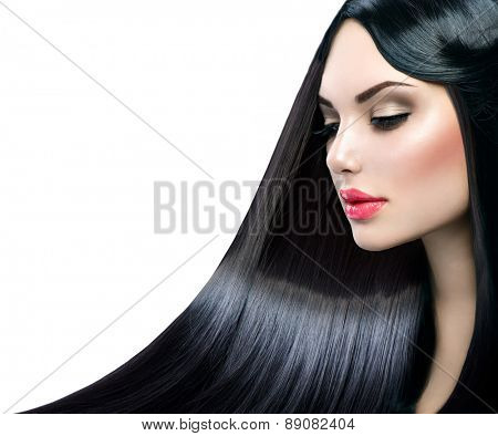 Beautiful model girl with healthy long straight shiny hair isolated on white background. Hair. Healthy Long Black Hair. Beauty Brunette Woman. Gorgeous Hair, Dyed hair