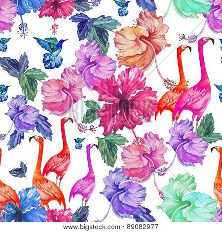 Seamless pattern watercolor tropical flowers and birds.