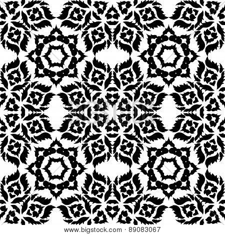 Black Damask Pattern On A White Background.