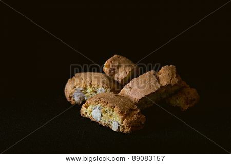 Cantuccini cookies on black background
