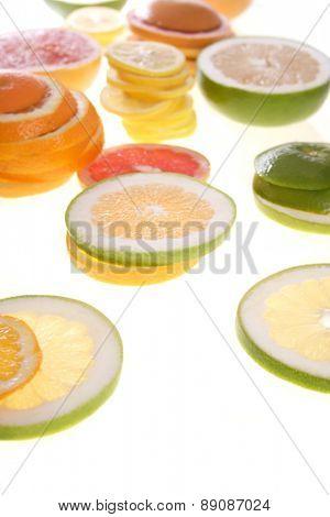 Sliced lemon and grapefruit - close up
