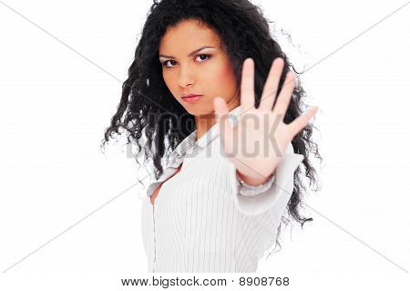 Serious Woman Showing Negation