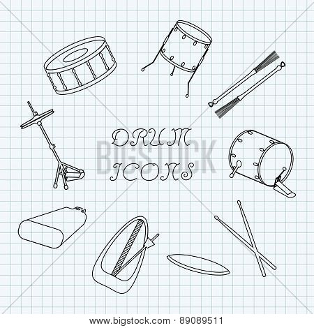 Linear Drum Icons On The Notebook Sheet In A Cage. Doodle. Vector