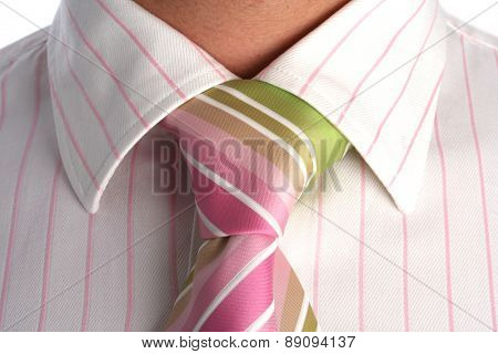 Close up of tie on neck