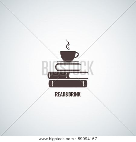 coffee and books design background