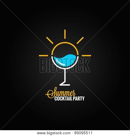 summer cocktail glass design background