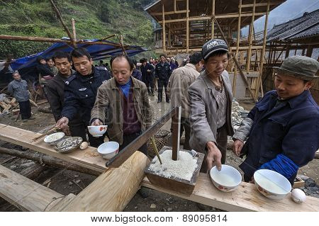Villagers Chinese Mountain Village Celebrate Start Of Construction Peasant House