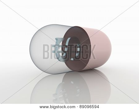 Money And Medicine Pill 3D Concept Background And Symbol