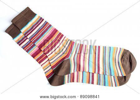 Socks on white background