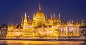 stock photo of hungarian  - View of hungarian Parliament building at night in Budapest - JPG