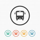 stock photo of bus driver  - Minimalistic simple flat bus icon with color variations - JPG