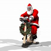 picture of humbug  - santa working out on a bike trainer.
