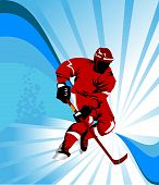stock photo of ice hockey goal  - Hockey player makes a strong shot on goal rival - JPG