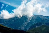 picture of albania  - Beautiful rocky mountains with clouds in Albania - JPG