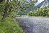 pic of pieniny  - Dunajec River in Pieniny Mountains in distance Trzy korony and Facimiech - JPG