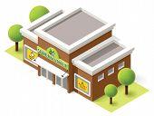 pic of isometric  - Vector isometric supermarket building icon - JPG