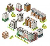 image of building exterior  - Set of the isometric city buildings - JPG
