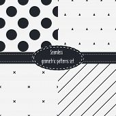 stock photo of color spot black white  - Geometric Seamless Patterns Set - JPG