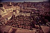 image of asilah  - View of a tannery tinting leather Fez Morocco - JPG