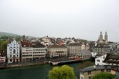 picture of zurich  - View of the embankment of the river in Zurich - JPG