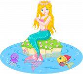 image of mermaid  - Vector illustration of a cute mermaid girl - JPG