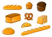 image of pretzels  - Fresh bakery products in cartoon style including sweet cake - JPG