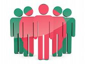 stock photo of bangladesh  - People with flag of bangladesh isolated on white - JPG