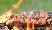 stock photo of braai  - Tasty skewers on the grill - JPG