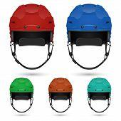 stock photo of headgear  - Ice hockey helmets set - JPG