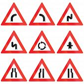 foto of priorities  - Collection of Austrian Warning signs about curves roundabout priority and narrow roads - JPG