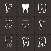 image of bad teeth  - Vector teeth icon set on black background - JPG