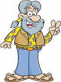 pic of hippy  - Cartoon illustration of a old hippie giving the peace sign - JPG
