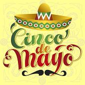 picture of sombrero  - Cinco de Mayo vector illustration with sombrero and moustache - JPG
