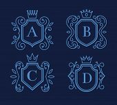 pic of crown  - Set of logo or monogram design with shields and crowns - JPG