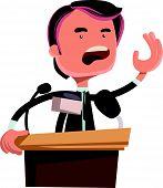 stock photo of politician  - Politician giving speech vector illustration cartoon character - JPG