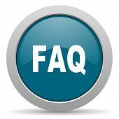 picture of faq  - faq blue glossy web icon  - JPG