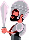 pic of sparta  - Ancient warrior in full armour vector illustration cartoon character - JPG