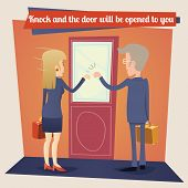 picture of door  - Businesswoman Businessman with Briefcase Knocking at Customer Door Business Concept Template on Stylish Wall Background Retro Cartoon Design Vector Illustration - JPG
