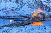stock photo of lofoten  - Bridges over fjords at night in Lofoten - JPG
