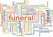 stock photo of funeral  - Background text pattern concept wordcloud illustration of funeral rites - JPG