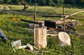 picture of chopper  - chopper and fuelwood campfire and food on halt in walking tour - JPG