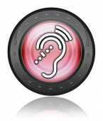 foto of hearing  - Icon Button Pictogram with Hearing Impairrment symbol - JPG