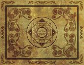 picture of wiccan  - Illustration of a magical symbol design on parchment paper background - JPG