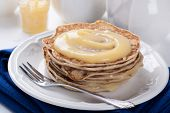 picture of curd  - Stack of pancakes with homemade lime curd - JPG